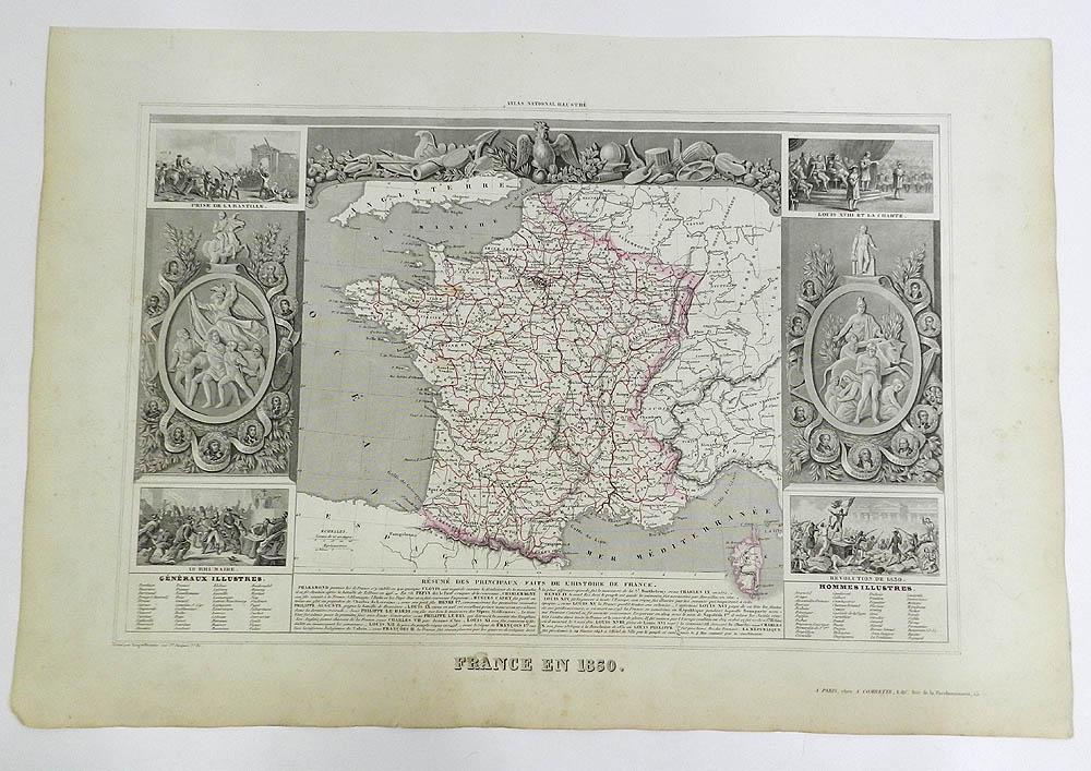 Carte France 1850 de la France en 1850