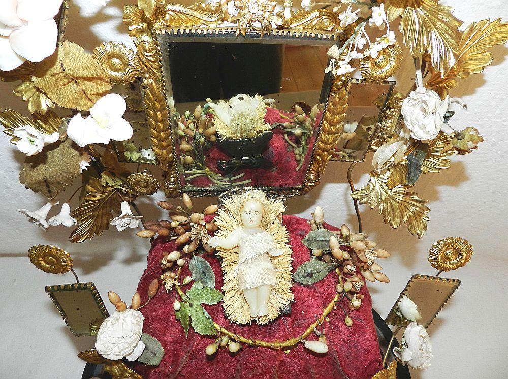 magnifique ancienne couronne globe de mariee coussin fleurs miroirs 19e ebay. Black Bedroom Furniture Sets. Home Design Ideas