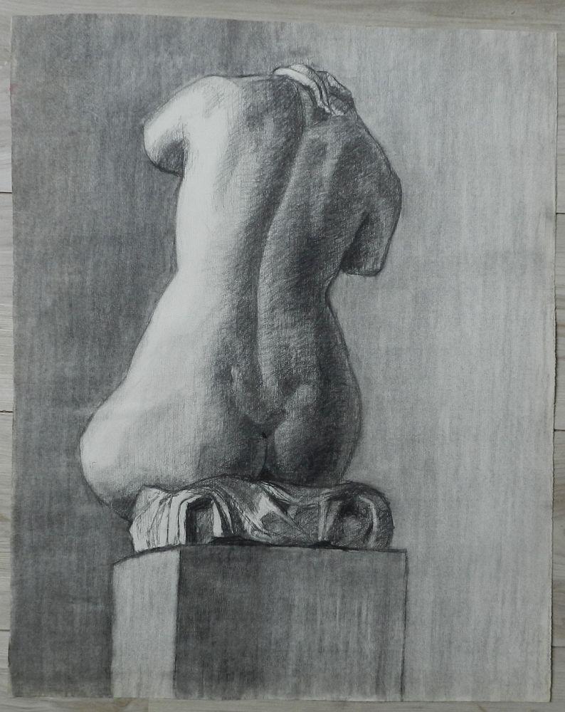 Grande Academie Etude Dos Nu De Femme Dessin Ancien 1920
